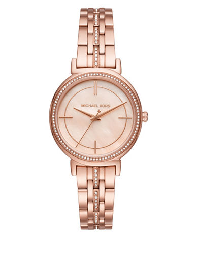 Michael Kors Analog Cinthia Pave Rose-Goldtone Bracelet Watch-ROSE GOLD-One Size