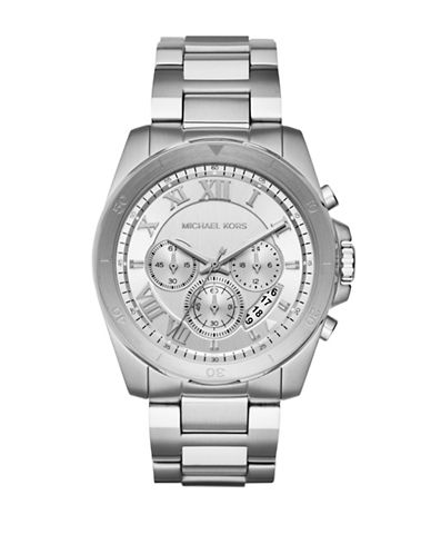 Michael Kors Chronograph Breckan Stainless Steel Bracelet Watch-SILVER-One Size
