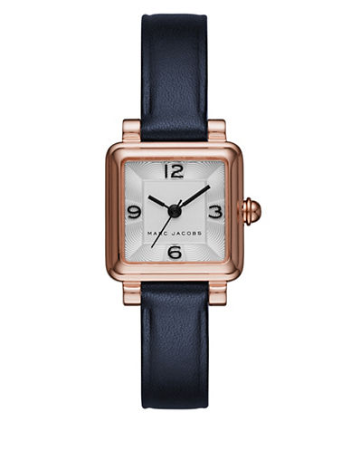Marc Jacobs Analog Vic Rose-Goldtone Leather Strap Watch-BLUE-One Size
