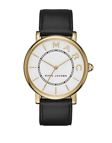 Marc Jacobs Analog Classic Goldtone Black Leather Strap Watch-BLACK-One Size
