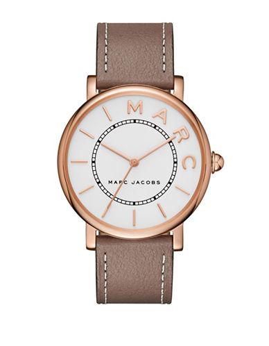 Marc Jacobs Analog Classic Goldtone Grey Leather Strap Watch-GREY-One Size
