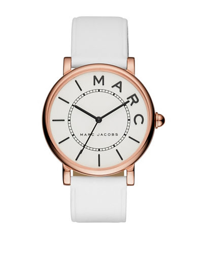 Marc Jacobs Analog Roxy Goldtone Leather Strap Watch-WHITE-One Size
