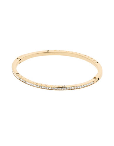 Michael Kors Haute Hardware Logo Channel Set Pave Hinged Bangle-GOLD-One Size