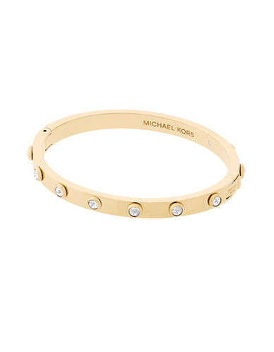 Michael Kors Knife Edge Stainless Steel Hinged Bangle-GOLD-One Size