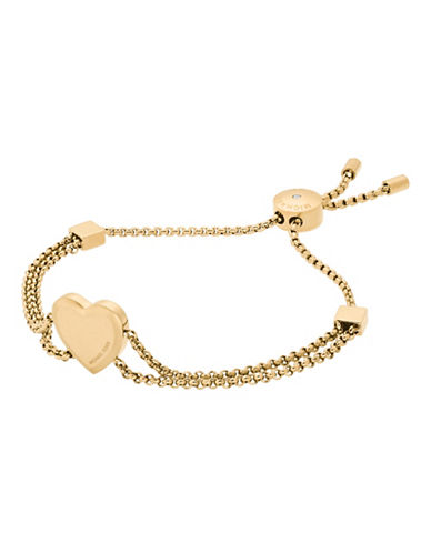 Michael Kors Mothers Day Goldtone Heart Slider Bracelet-GOLD-One Size