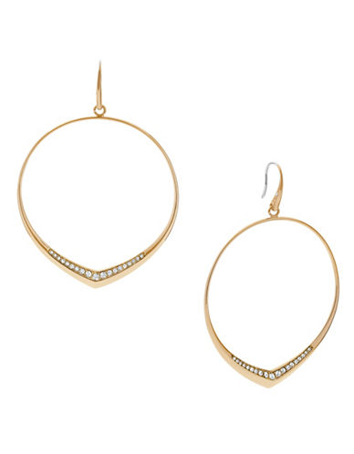 Michael Kors Knife Edge Stainless Steel Drop Hoop Earrings-GOLD-One Size