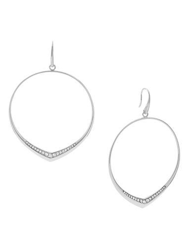 Michael Kors Knife Edge Stainless Steel Drop Hoop Earrings-SILVER-One Size