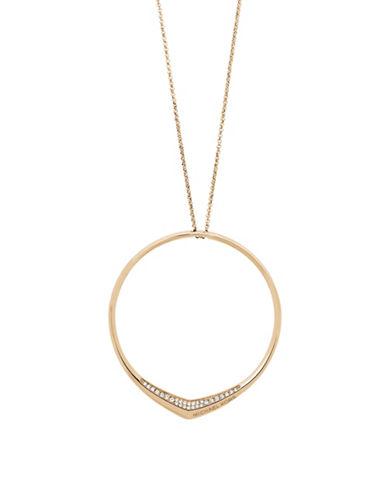 Michael Kors Knife Edge Pave Pendant Necklace-GOLD-One Size