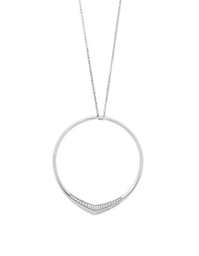 Michael Kors Knife Edge Pave Pendant Necklace-SILVER-One Size