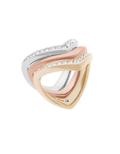 Michael Kors Knife Edge Three-Piece Stacked Ring Set-ASSORTED-8