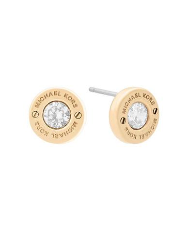 Michael Kors Haute Hardware Logo Stud Earrings-GOLD-One Size