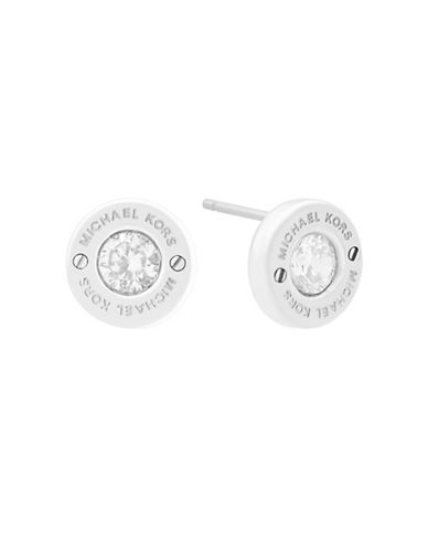 Michael Kors Haute Hardware Logo Stud Earrings-SILVER-One Size
