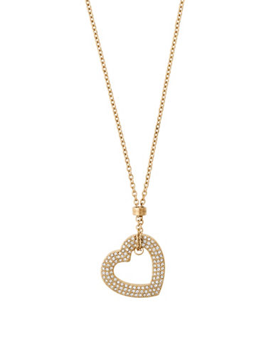 Michael Kors Mothers Day Goldtone Open Heart Pendant Necklace-GOLD-One Size