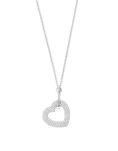 Michael Kors Mothers Day Silvertone Open Heart Pendant Necklace-SILVER-One Size