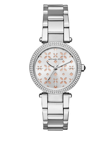 Michael Kors Analog Mini Parker Stainless Steel Bracelet Watch-SILVER-One Size