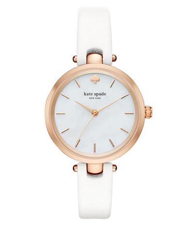 Kate Spade New York Holland Goldtone Leather Analog Watch-WHITE-One Size