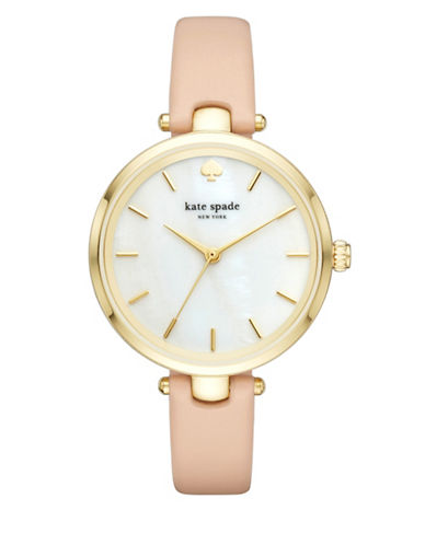Kate Spade New York Holland Goldtone Leather Analog Watch-PINK-One Size