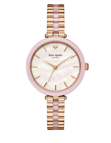 Kate Spade New York Analog Stop and Smell the Roses Stainless Steel Holland Bracelet Watch-ROSE GOLD-One Size