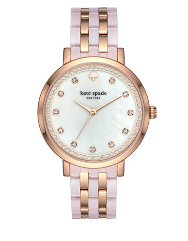 Kate Spade New York Analog Stop and Smell the Roses Monterey Stainless Steel Bracelet Watch-ROSE GOLD-One Size