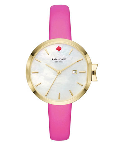 Kate Spade New York Analog Stop and Smell the Roses Park Row Stainless Steel Bracelet Watch-PINK-One Size