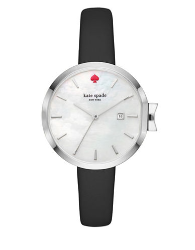 Kate Spade New York Analog Stop and Smell the Roses Park Row Stainless Steel Bracelet Watch-BLACK-One Size