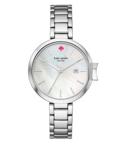 Kate Spade New York Analog Stop and Smell the Roses Park Row Stainless Steel Bracelet Watch-SILVER-One Size