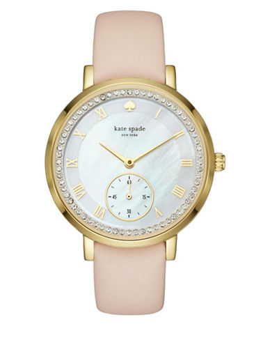 Kate Spade New York Chronograph Pave Monterey Goldtone Leather Strap Watch-NUDE-One Size