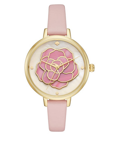 Kate Spade New York Analog Stop and Smell the Roses Floral Leather Strap Watch-ROSE GOLD-One Size
