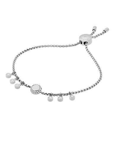 Michael Kors Haute Hardware Silvertone Logo Charm Slider Bracelet-SILVER-One Size