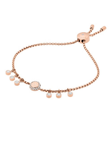 Michael Kors Haute Hardware Rose Goldtone Logo Charm Slider Bracelet-ROSE GOLD-One Size