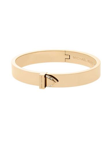 Michael Kors Knife Edge Goldtone Hinged Bangle Bracelet-GOLD-One Size