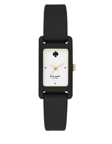 Kate Spade New York Park Row Stainless Steel and Silicone Watch-BLACK-One Size