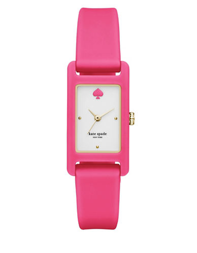 Kate Spade New York Duffy Square Silicone Analog Watch-PINK-One Size