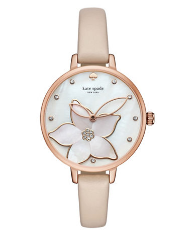 Kate Spade New York Analog Rose-Goldtone Metro Leather Strap Watch-NUDE-One Size