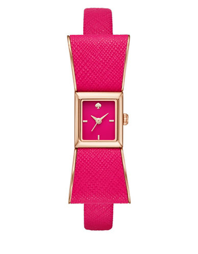 Kate Spade New York Analog Kenmare Bow Goldtone Leather Strap Watch-PINK-One Size