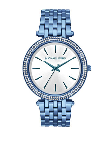 Michael Kors Darci Pave Analog Strap Watch-BLUE-One Size