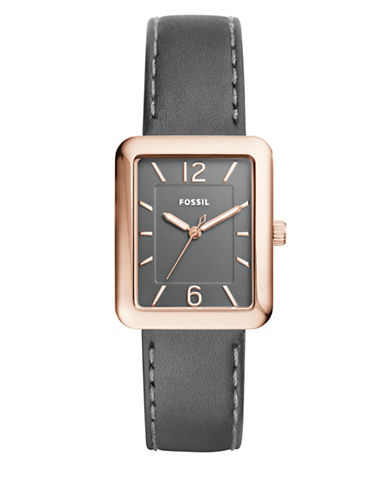 Fossil Analog Atwater Goldtone Leather Strap Watch-GREY-One Size