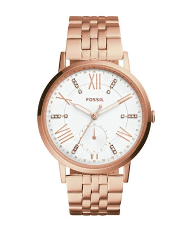 Fossil Gazer Quartz Multi Rose Goldtone Bracelet Watch-ROSE GOLD-One Size