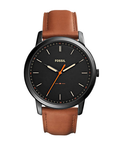 Fossil Analog Minimalist Three-Hand Quartz Strap Watch-BROWN-One Size
