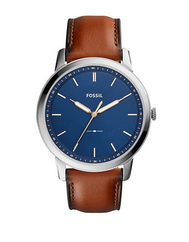 Fossil The Minimalist Three-Hand Leather Strap Watch-BROWN-One Size