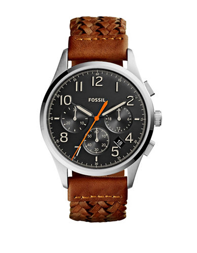 Fossil Vintage 54 Chrono Timer Leather Strap Watch-BROWN-One Size