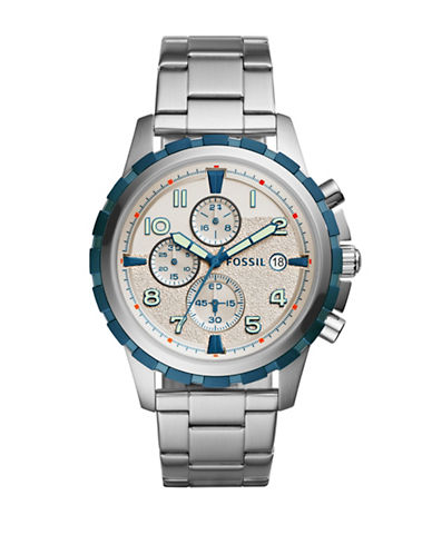Fossil Dean Chronograph Bracelet Watch-SILVER-One Size
