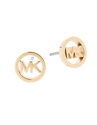 Michael Kors Haute Hardware Goldtone Logo Stud Earrings-GOLD-One Size