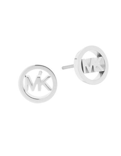 Michael Kors Haute Hardware Silvertone Logo Stud Earrings-SILVER-One Size