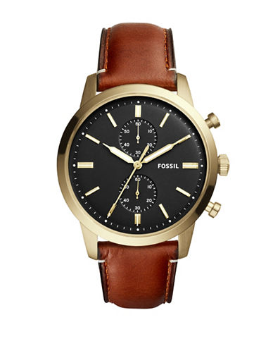 Fossil Chronograph Townsman Goldtone Leather Strap Watch-BROWN-One Size
