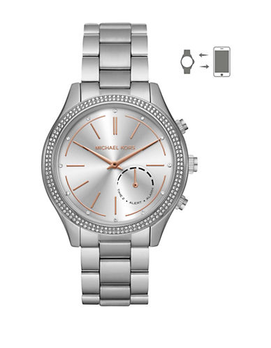 Michael Kors Slim Runway Hybrid Stainless Steel Smartwatch-SILVER-One Size