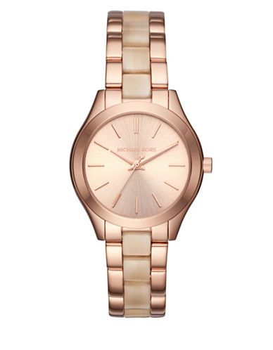 Michael Kors Analog Mini Slim Runway Rose-Goldtone Stainless Steel & Acetate Bracelet Watch-ROSE GOLD-One Size