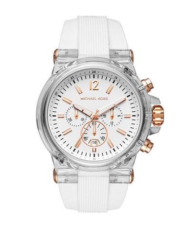 399a5e4dc23d UPC 796483330894. Men s Michael Kors Chronograph Dylan White Silicone Strap Watch  MK8577