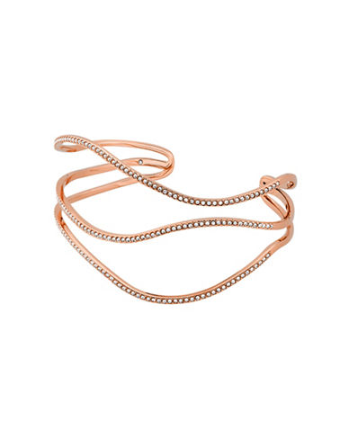 Michael Kors Wonderlust Crystal Rose-Goldtone Open Statement Cuff-ROSE GOLD-One Size