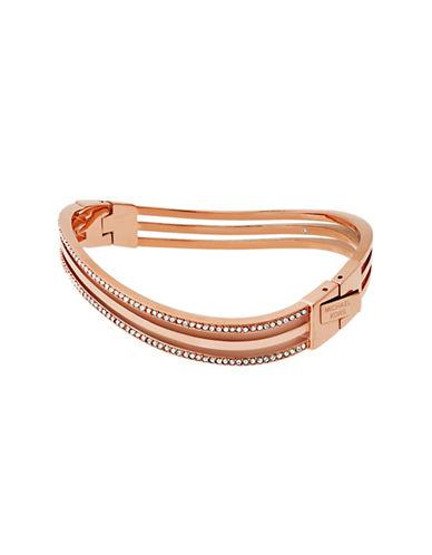 Michael Kors Wonderlust Crystal Rose-Goldtone Hinge Bracelet-ROSE GOLD-One Size
